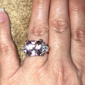 .925 Sterling Silver Pink Ice ring